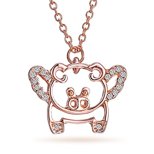Katie's Style Cute Crystal Flying Piggy Necklace Wings Animal Pet Lover Pendant - Piggy Necklace