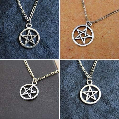 Yevison 2Pcs Fashion Unisex Star Circle Pentagram Pendant Necklace Couple Xmas Gift Durable and Useful