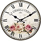 Vintage/Country Style Wooden Silent Round Wall Clocks Decorative Clocks,Q