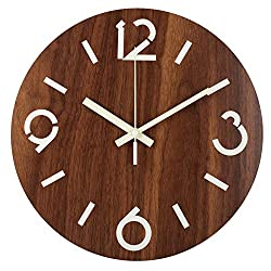 BEW Luminous Wall Clock, Large Numerals and Clock Hands Glow-in-Dark, Silent Non-Ticking Battery Operated Vintage Wooden Decorative for Living Room/Dining Room/Kids Bedroom/Kitchen (12 Inch)