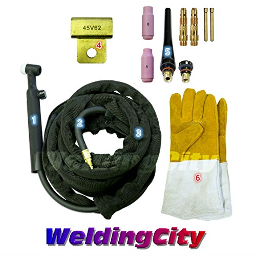 [WeldingCity WP-26FV-25R Complete Ready-to-Go Package Flex-Head Gas-Valve 25' 200Amp Air-Cooled TIG Welding Torch] (Flex Head Torch)