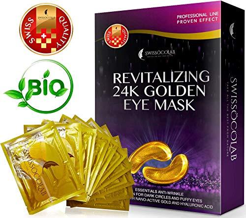 Eye Pads 24k Gold Eye Mask Anti-Aging Hyaluronic Acid Eye Patches Under Eye Mask for Moisturizing & Reducing Dark Circles Puffiness Wrinkles Eye Gel Pads from Puffy Eyes Collagen Eye Pads - Under Eye Puffiness Dark Circles