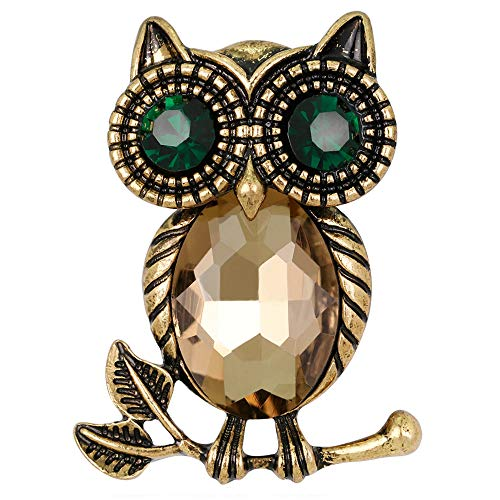Stylebar Good Luck Owl Branch Brooch Pins Retro Bird Broaches for Women Girls Men Boy Animal Brooches Topaz Color Crystal Black Night Eye Vintage Gold Tone