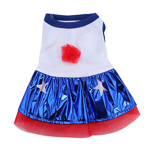 Loneflash Spring and Summer Rose Star Blue Skirt Dress Dog Costumes Pet Clothes