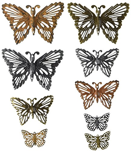 Prima Marketing 963408 Grungy Butterflies Finnabair Mechanicals Metal Embellishments (9/Pack), Multicolor