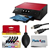 Canon PIXMA TS9020 Wireless All-in-One Inkjet Printer (Red) + Canon CLI-271 CMYK Ink Tank 4-Pack + Type A to Type B USB Cable + Super Dust Blower + Photo4Less Cleaning Cloth – Complete Printing Bundle