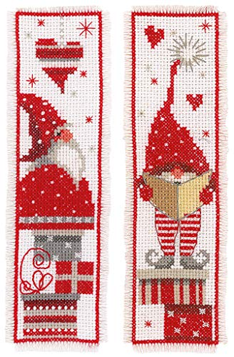 Vervaco Christmas Gnomes Bookmarks Counted Cross-Stitch Kit (Stitch Christmas Gnomes Cross)