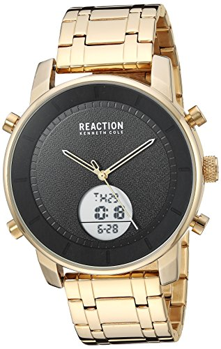 Amazon.com: Kenneth Cole REACTION Mens ANA-Digit Analog-Quartz Watch with Stainless-Steel Strap, Gold, 22 (Model: RK50083010: Watches
