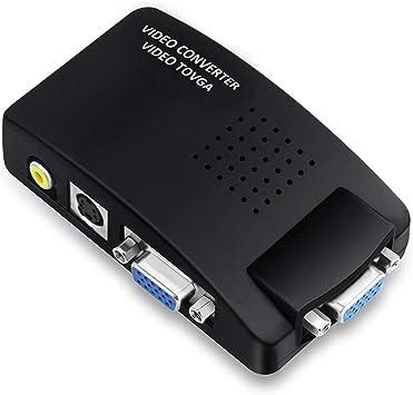 mondpalast@ CCTV DVD DVR TV RCA AV S-Video Composite Video entrada a VGA Monitor PC adaptador convertidor: Amazon.es: Electrónica