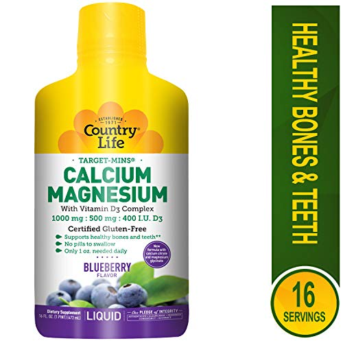 Country Life Target Mins Liquid Calcium Magnesium, Wild Blueberry, 16-Fluid Ounce