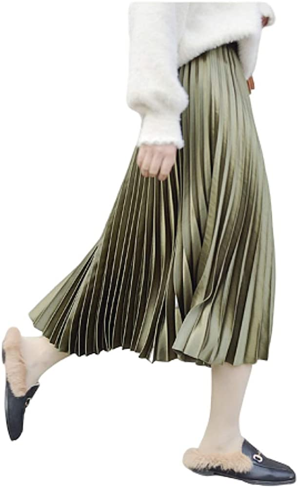 Chic Metallic Pleated Maxi Satin A-Line Autumn Winter Long Skirt Dress Flow Beach Party Club Evening Work Office Vintage Wear