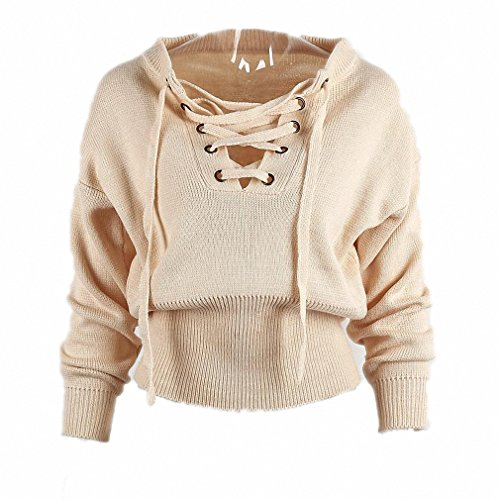 Goexi Womens Pullover Sweater Lace Up Loose Belt Ribbed Top Knitwear Jumper Elastic Hem Beige One Size