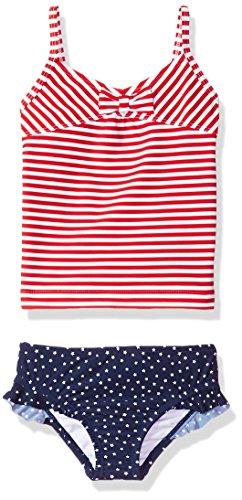 Tankini Piece Toddler 2 Girls (Osh Kosh Girls' Toddler 2-Piece Swim Suit (Multiple Varieties), Red Stripe, 4T)