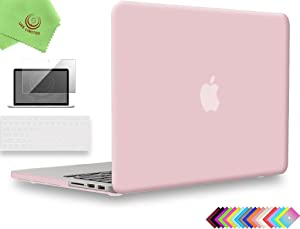 UESWILL 3in1 Matte Hard Case for MacBook Pro (Retina, 15-inch, Mid 2012/2013/2014/Mid 2015), Model A1398, NO CD-ROM, NO Touch Bar + Keyboard Cover and Screen Protector, Rose Quartz