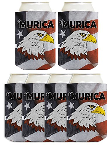 American Mud Flag Flap (4th of July Funny Can Coolie Murica Bald Eagle American Flag 6 Pack Can Coolies)