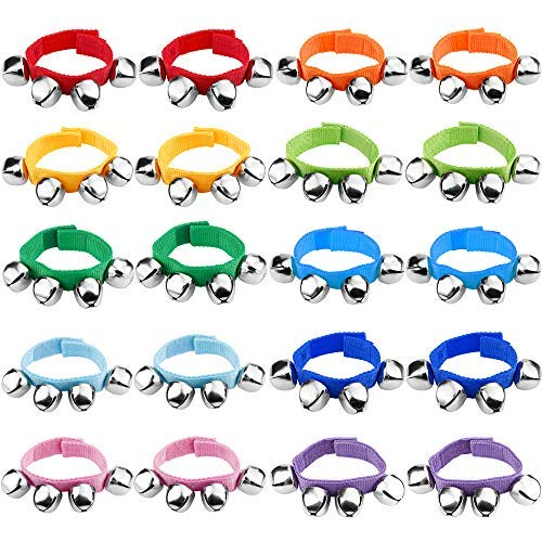 Augshy 20 Pcs Wrist Band Jingle Bells Musical Rhythm Toys,10 Colors,Musical Instruments for School