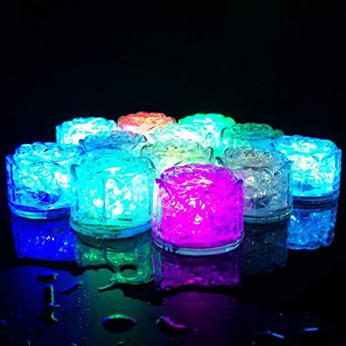 Hongtang 12Pcs Multicolor Liquid Sensor Changing Blinking Flashing LED Light Up LED Ice Cubes Event Party Decoration (Rose) -