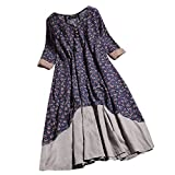 Clearance! Womens Casual Vintage Floral Printed Layered Dress Loose Long Sleeve Button Long Dress S-XL (X-Large, Navy)
