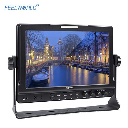 Andoer FEELWORLD FW1018S 10.1inch HD 1280 * 800 Video Monitor IPS LCD Screen HDMI 3G-SDI YPbPr 178° View Angle with U Shaped Bracket for DSLR Camera Camcorder by Andoer