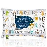 Almohada para bebé con funda de almohada – 13 x 18 suave algodón orgánico para dormir – lavable e hipoalergénico – para niños, bebés – perfecto para viajes, cuna, juego de cama, KeaABC