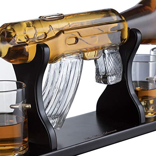 Gun Large Decanter Set Bullet Glasses - Elegant Rifle Gun Whiskey Decanter 22.5'' 1000ml With 4 Bullet Whiskey Glasses and Mohogany Wooden Base By The Wine Savant by The Wine Savant (Image #5)