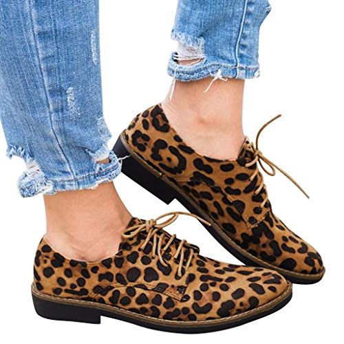 Outtop(TM) Women Leopard Print Ankle Boots Ladies Lace Up Round Toe Flat Suede Single Shoes (US:8, Brown) (Suede Flats Print)