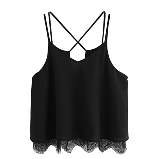0d0ba1f5445 Amazon.com: BCDshop Crop Tops for Women Summer Ladies Cute Lace Chiffon  Cami Top Camisole: Clothing