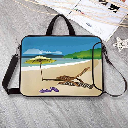 (Summer Waterproof Neoprene Laptop Bag,Beach Sunshine Sand Waves Sandal Deckchair Holiday Relaxation Vacation Cartoon Print Laptop Bag for Business Casual or School,17.3
