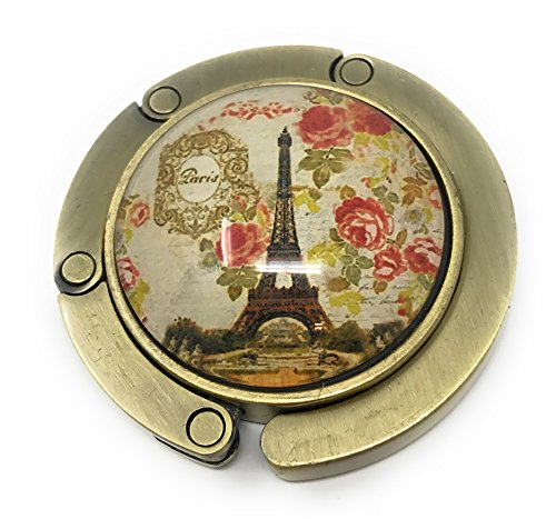 Floral Purse Hanger - French Paris Eiffel Tower Folding Handbag Purse Table Hanger