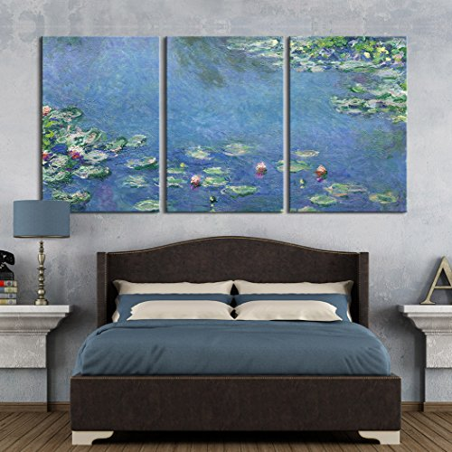 "wall26 3 Panel Canvas Wall Art - Water Lilies, 1906 by Claude Monet - Giclee Print Gallery Wrap Modern Home Decor Ready to Hang - 24""x36"" x 3 Panels"