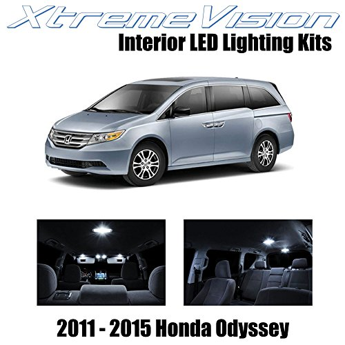 XtremeVision Honda Odyssey 2011-2015 (16 Pieces) Pure White Premium Interior LED Kit Package + Installation Tool ()