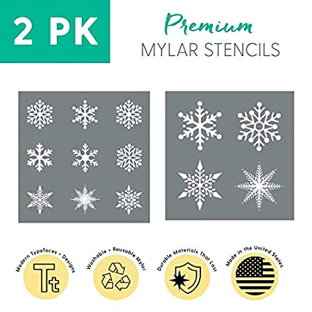 More Reusable Snowflake Stencils for Painting Walls Large Snowflake Stencil Set Pack of 2 Christmas Stencils for Decorating Windows