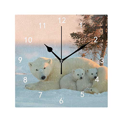 OMWEED Animals Happy Baby Animals Polar Bears Clock Personalized Themed Room Decoration Eye-Catching Artwork