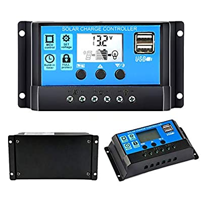 Solar Charge Controller, Y-Solar Solar Panel Controller 12V/24V Auto Paremeter Adjustable LCD Display Solar Panel Battery Regulator with Dual USB Load Timer Setting ON/Off Hours