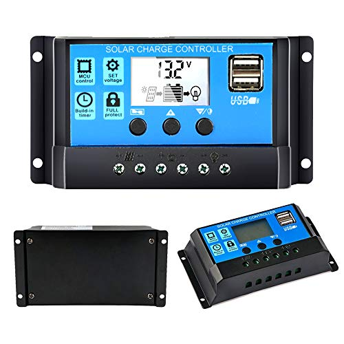 Solar Charge Controller 30A, Solar Panel Battery Controller 12V/24V PWM Auto Paremeter Adjustable LCD Display Solar Panel Battery Regulator with Dual USB Load Timer Setting ON/Off Hours
