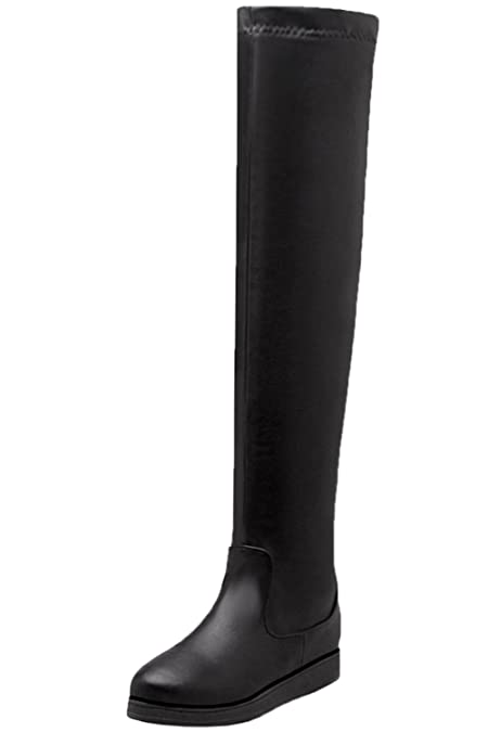 BIGTREE Knie Stiefel Damen Faux Wildleder Erhöhte Herbst Winter Warm Schwarz Casual Overknees Stiefel von 36 EU GsHvegQ