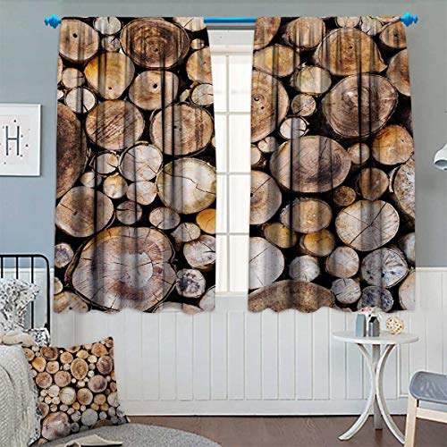 indow Curtain Fabric Wooden Logs Background Circular Shaped Oak Tree Life and Growth Theme Drapes for Living Room 72