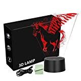 3D Illusion Lamp Horse with Wing Night Light with 7 Color Change,Pegasus Optical Illusion Lamp, Office LED Desk Lamp for Kids, USB or Battery Powerd, Led Light Lamp for Girls Boys and Adults
