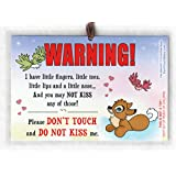 2 Pack: Don't Touch or Kiss Me Sign for Baby, 6x4 inch Laminated Car Seat Sign by Cold Snap Studio, Seacat Dreams for Girls - Handmade in The USA!