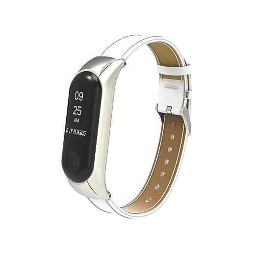 MADROD Pulsera de Cuero con Cuentas Correa de Reloj Trenzada de Repuesto para Xiaomi Mi Band 3