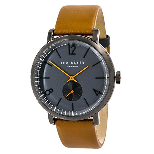 Ted Baker Men's 'OLIVER' Quartz Stainless Steel and Leather Dress Watch, Color:Brown (Model: - Mens Ted Watches Baker