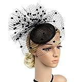ACTLATI Elegant villus Points Headband Cocktail Party Netting Headwear Girls Women Fascinator Hat Black Elastic Mesh Net Hair Band