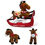 Horse Plush with Cute Bow and Radio Flyer Pony: Smooth Rock and Safe Bounce With Motion Activated Songs Gift Bundle, Kids Entertainment, Toddler Ride On Toys, Baby Adventure, Fun Filled Activity
