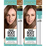 L'Oreal Paris Magic Root Rescue 10 Minute Root Hair Coloring Kit, Permanent Hair Color with Quick Precision Applicator, 100% Gray Coverage, 6 Light Brown, 2 count