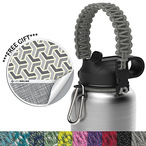 the flow Paracord Handle for Wide Mouth Water Bottle with Carabiner, Security Ring and Vinyl Sticker | Black (Gray)