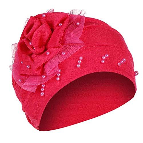 Women Flower Elastic Turban Beanie Wrap Chemo Cap Hat Muslim Scarf Turban Wrap Cap African hat Hot Pink