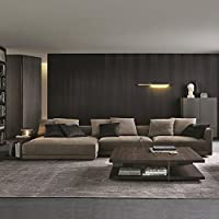 Modern Tufted Brush Microfiber Sectional Sofa - Living Room Kit L Shaped Couch with Loveseat Chaise Lounge and Long Side Shelf - BONUS Long Ottoman and 6 Throw Pillows, Espresso (Left Chaise)