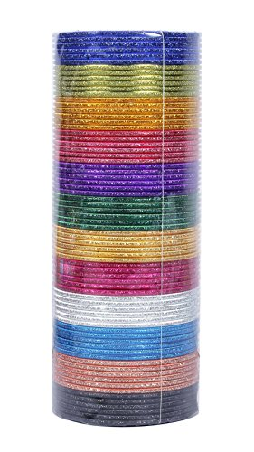 Indian Bollywood Fashion 12 Colors Plain Bangle Box Partywear Ethnic Jewelry (2.4 Inches)