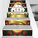 Stair Stickers Wall Stickers,6 PCS Self-adhesive,Poker Tournament,Gambling Fortune Wealth Playing Cards Hand Casino Roulette Winning Print Decorative,Multicolor,Stair Riser Decal for Living Room, Hall
