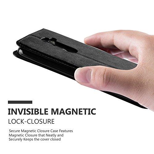 Cadorabo - Funda Book Style Cuero Sintético en Diseño Libro LG G2 - Etui Case Cover Carcasa Caja Protección con Imán Invisible en ROJO-MANZANA NEGRO-ANTRACITA